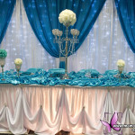 Main table love that draping Quinceanera Table Decorations Blue